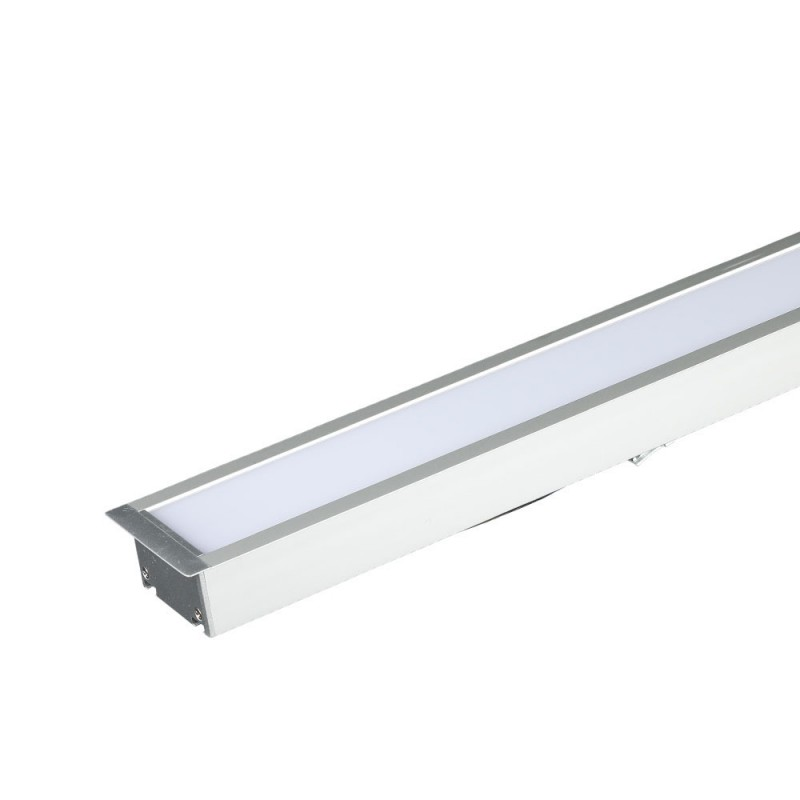 Luminaria Lineal Empotrable 40W LED SAMSUNG Chip Color Plateado