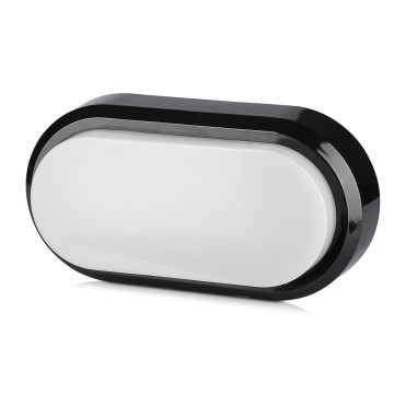 Plafón LED Superficie 8W Oval Cuerpo Negro IP54