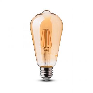 Bombilla LED 6W E27 Filamento Patent Ámbar Cover ST64