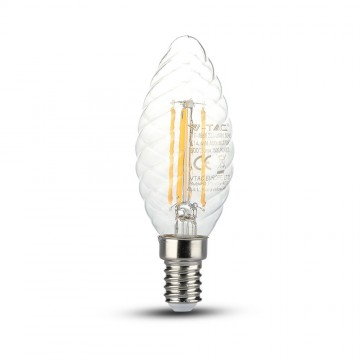 Bombilla LED 4W Filamento Patent E14 Twist Tipo Vela Regulable