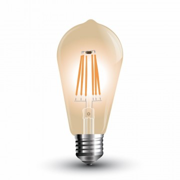 Bombilla LED 8W Filamento ST64 Ámbar Cover E27