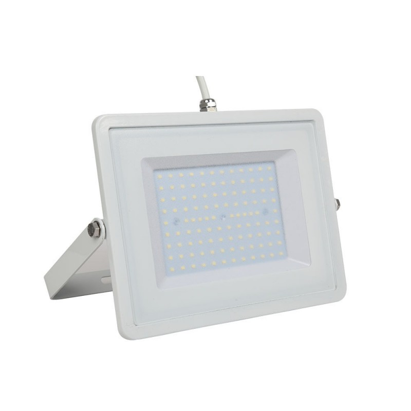 Foco Proyector LED 100W SMD Cuerpo Blanco Cable Blanco VT-49101-Proyectores LED-VTAC
