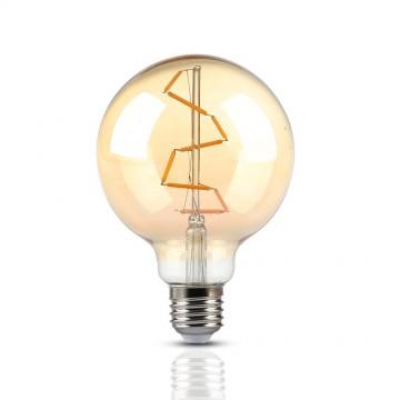 Bombilla LED 4W Filamento E27 G95 Ámbar