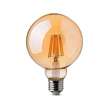 Bombilla LED 8W Filamento E27 G125 Ámbar Regulable