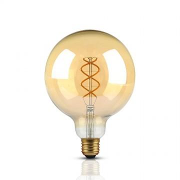 Bombilla LED 5W Filamento E27 G125 Forma curvada de cristal Color Oro