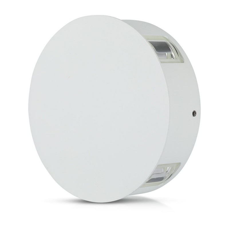 Aplique de Pared 4W Cuerpo Blanco Redondo IP65 VT-706BR-Apliques Pared-buyled.es