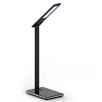 Lámpara de mesa LED 5W Cargador inalámbrico cuadrado 3 en 1 cuerpo Negro
