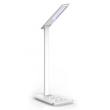 Lámpara de mesa LED 5W Cargador inalámbrico cuadrado 3 en 1 cuerpo blanco
