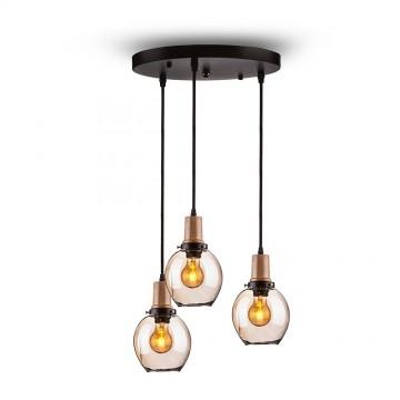 Lámpara Colgante triple de cristal Ámbar E27 + madera