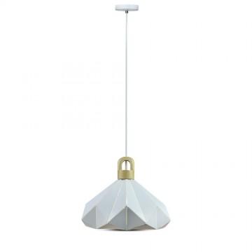 Lámpara Colgante prisma de Colores pastel madera Blanco 320 x 270 mm