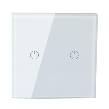 Interruptor Táctil 2 salidas WIFI compatible con Google Home y Amazon Alexa Blanco