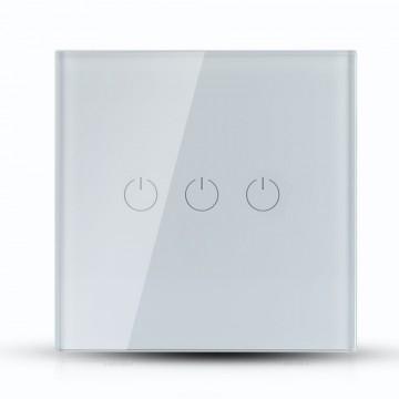 Interruptor Táctil 3 salidas WIFI compatible con Google Home y Amazon Alexa Blanco