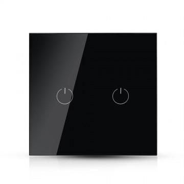 Interruptor Táctil 2 salidas WIFI compatible con Google Home y Amazon Alexa Negro