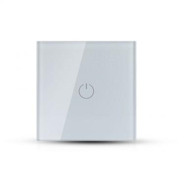 Interruptor Tactil 1 Botón Cristal Blanco