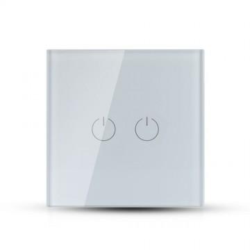 Interruptor Tactil 2 Botónes Cristal Blanco