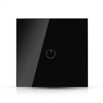 Interruptor Tactil 1 Botón Cristal Negro