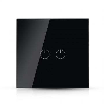 Interruptor Tactil 2 Botónes Cristal Negro