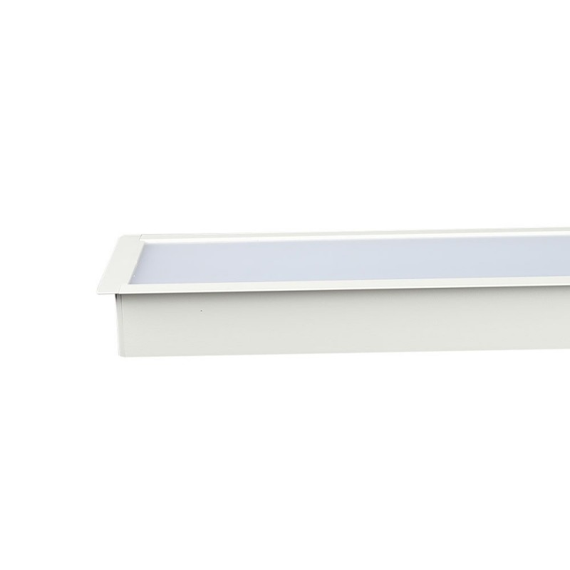 Luminaria Lineal Empotrable 40W LED SAMSUNG Cuerpo Blanco 90mm ancho VT-7-42-Downlight LED-buyled.es