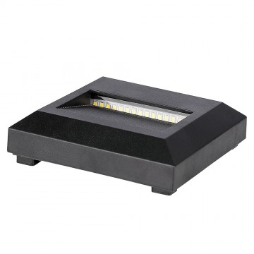 Baliza LED Escalera 2W Cuerpo Negro Cuadrado IP65