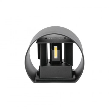 6W Lámpara de Pared LED IP65 BRIDGELUX Chip Cuerpo Negro Redondo