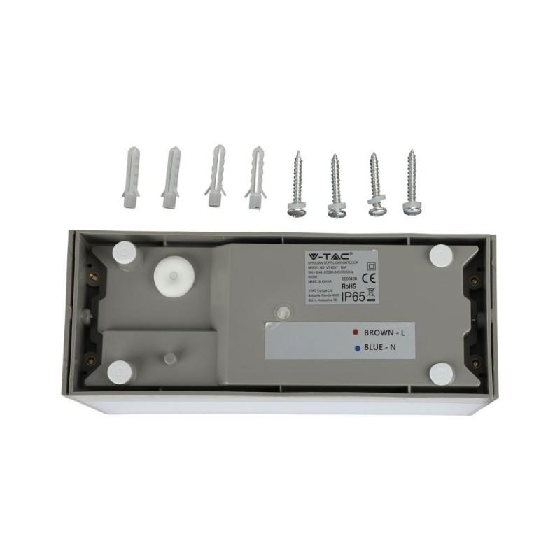 Aplique Pared exterior LED 12W UP-DOWN Cuerpo Gris IP65