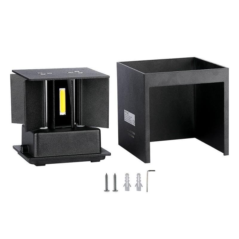 Aplique de Pared LED 12W Chip BRIDGELUX Cuerpo Negro Cuadrado