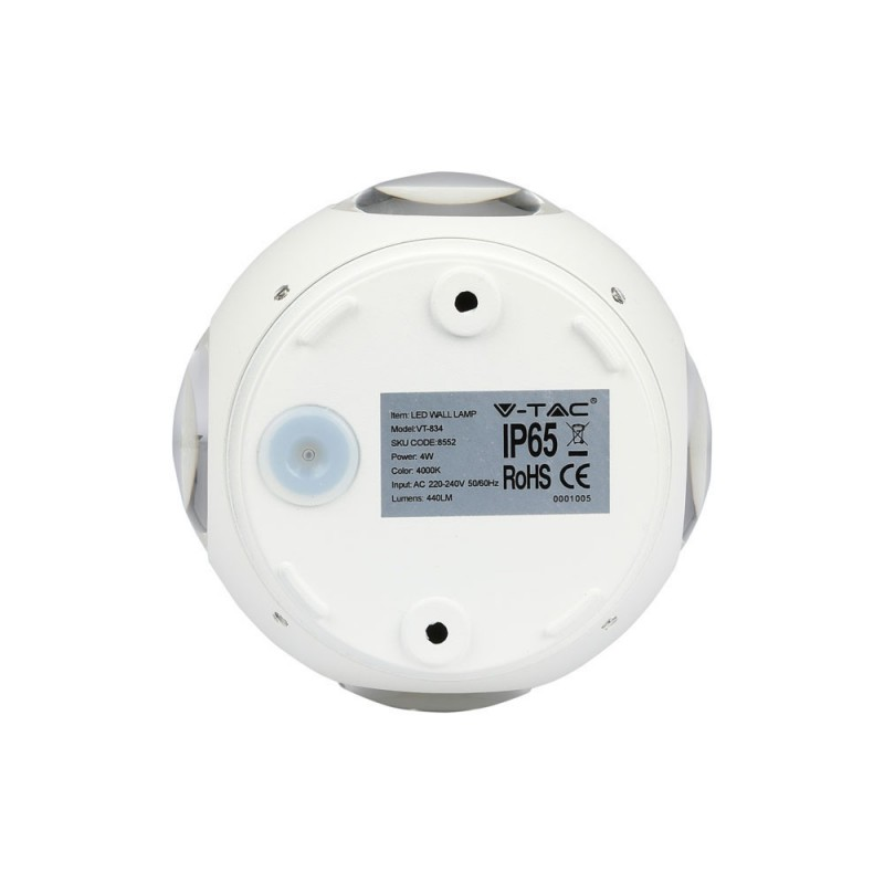 Aplique de Pared 4W LED UP-DOWN Blanco Redondo IP65