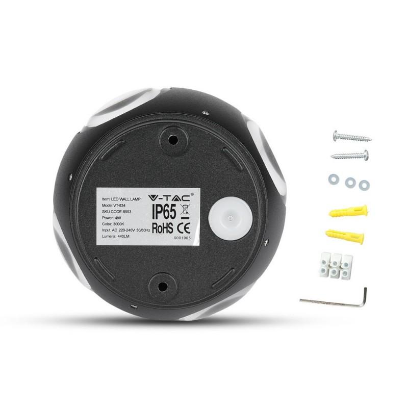 Aplique de Pared 4W LED UP-DOWN Negro Redondo IP65 VT-834-Apliques Pared-VTAC
