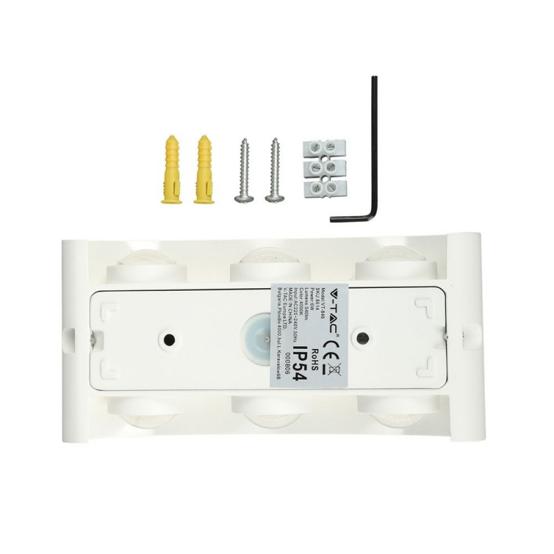 Aplique de Pared 6W LED UP-DOWN Cuerpo Blanco IP54 VT-846B-Apliques Pared-buyled.es