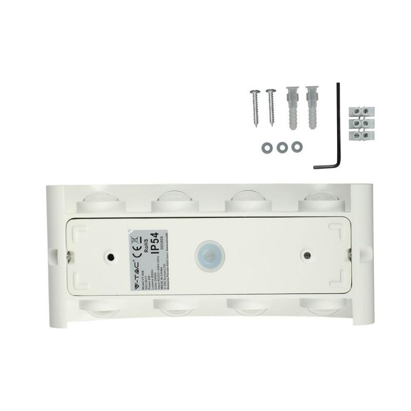 Aplique de Pared 8W LED UP-DOWN Cuerpo Blanco IP54 VT-848B-Apliques Pared-buyled.es