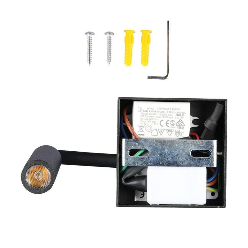 Lámpara de Pared LED Dormitorio 3W Cuerpo Negro VT-2903-Apliques Pared-buyled.es