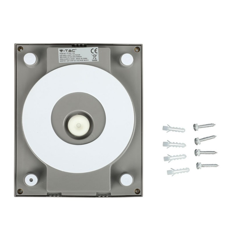 Aplique de Pared LED 12W Cuerpo Gris IP65 VT-822G-Apliques Pared-VTAC
