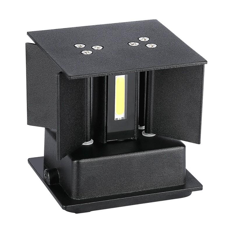 Aplique de Pared LED 12W Chip BRIDGELUX Cuerpo Negro Cuadrado VT-759-12N-Apliques Pared-VTAC