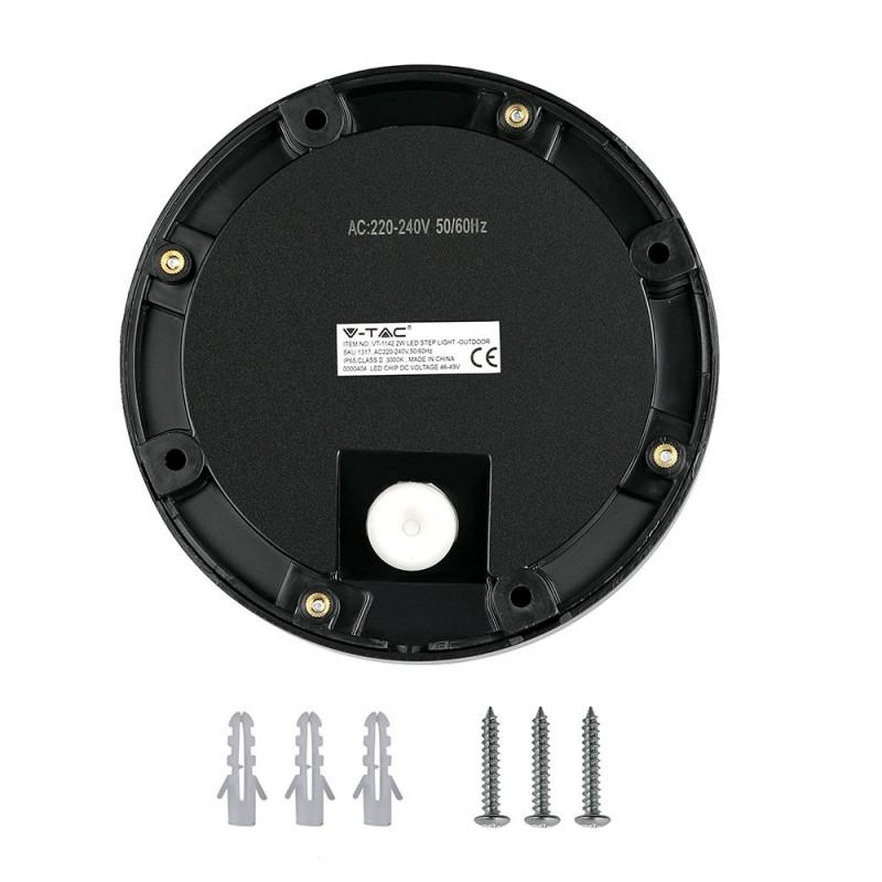 Baliza LED Escalera 2W Cuerpo Negro Redondo IP65 VT-1142NR-Iluminación Escaleras-VTAC