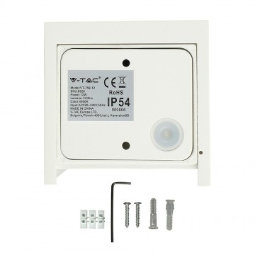 Aplique de Pared LED 12W Chip BRIDGELUX Cuerpo Blanco Cuadrado