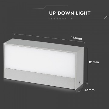 Aplique Pared exterior LED 9W UP-DOWN Cuerpo Gris IP65 VT-8056