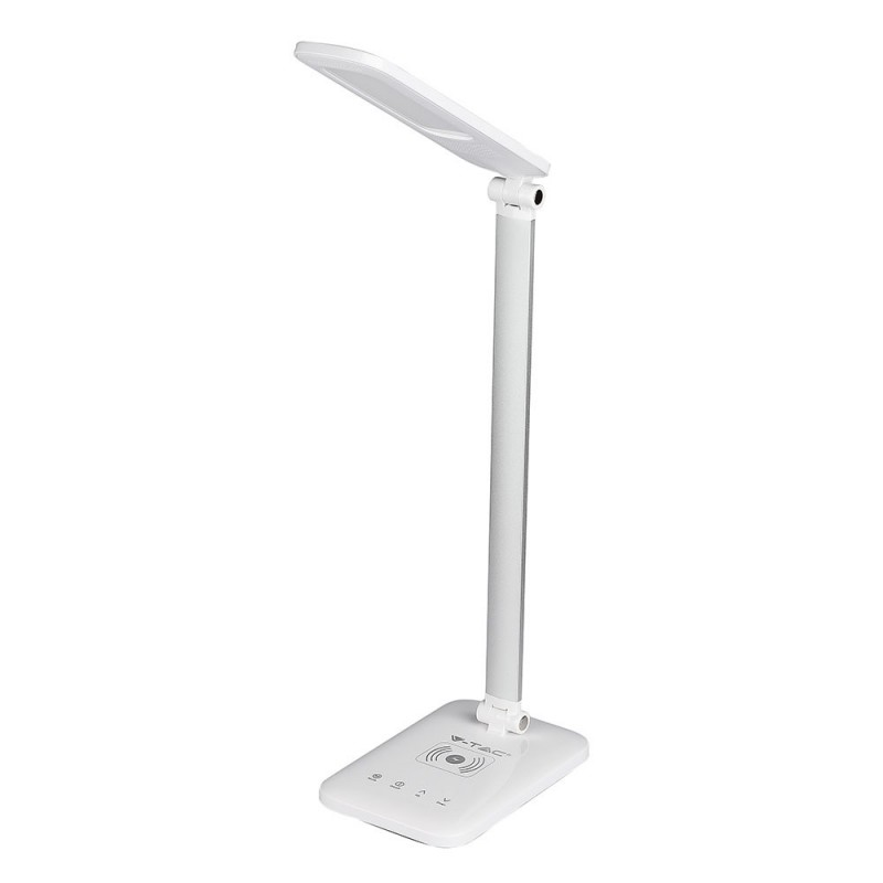 Lámpara de mesa LED 16W cargador inhalámbrico Wireless 3 en 1 cuerpo blanco