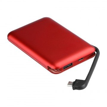 Power Bank 5000mAh con pantalla LED & Cable incorporado Color Rojo