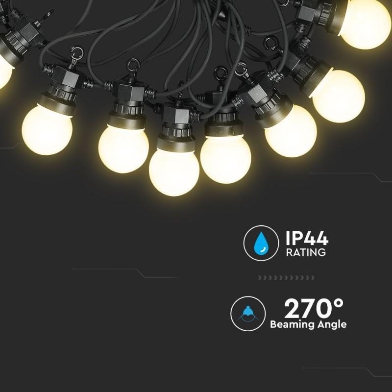 Guirnalda de luces LED 10m. 20 Bombillas x 0.5W 6000K VT-71020-Iluminación Decorativa-buyled.es