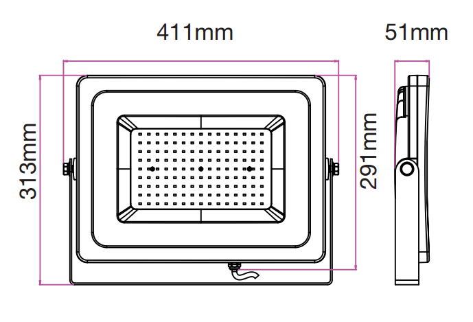 medidas focos led 150w v-tac