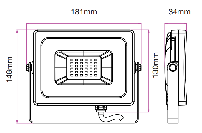 medidas proyector led 20w