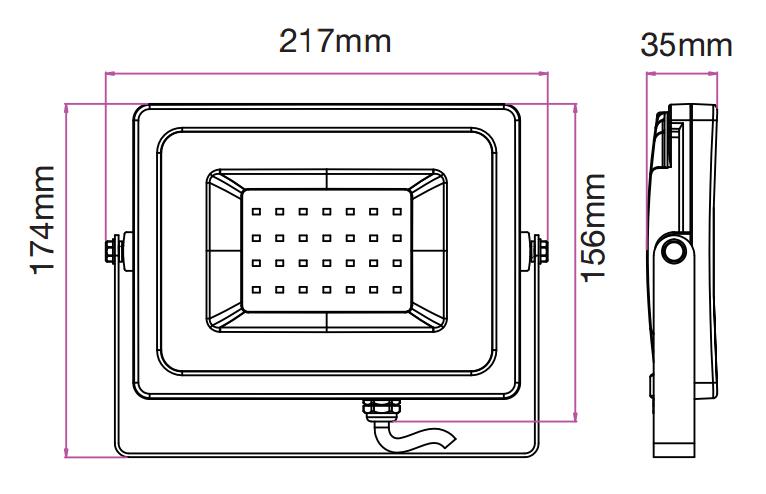 medidas foco de led 30w negro